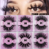 SKONHED 1 Pair 25mm 6D Mink Hair False Eyelashes Thick Long Cross Wispy Fluffy