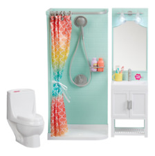 "Bathroom Play Set Shower Vanity Dollhouse Furniture for 18"" My Life As Dolls"