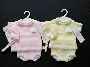 GIRLS SPANISH STYLE KNITTED POM POM TOP,BONNET,PANT SETS SIZE 0-3 TO 6-12 MONTHS