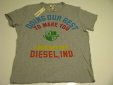 NWT DIESEL BRAND T-Shirt Mens Graphic Tee Shirt Logo Grey  Size Large