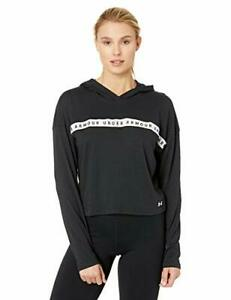 Under Armour Womens Logo Taped Cropped Hoodie Black/white