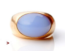 Vintage Unisex European Ring 18K Gold 8 ct  Moonstone Size 6 US /4.6g