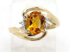 Diamond Right Hand Gemstone Ring .99ct 10k Yellow Gold Oval Citrine and Round