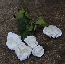 1X ARTIFICIAL FLOWER FLOWERS SILK WEDDING WHITE CREAM ROSE ROSES 5 HEAD SPRAY