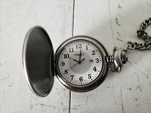 Timex Silver Tone Quartz Analog Men's Pocket Watch, Date, Japan Movement