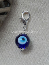 Blue Evil Eye Clip on Lampwork Glass Bead  Bracelet Charm Only Gothic/Wicca UK