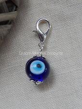 Blue Evil Eye Clip on Lampwork Glass Bead  Bracelet Charm Only Gothic/Wicca UK