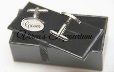 Mens silver oval Groom Cufflinks and Black PU leather gift presentation box cuff