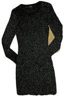 Express  Black Dress S Small Metallic  Stretch Knit Bodycon Sheath  Long Sleeve