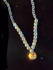 "Borealis Cz's - Orig. $126 Rare Park Lane ""Bejeweled"" Necklace Silver w/ Aurora"