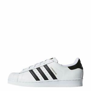 Adidas Womens Superstar Leather Low Top Lace Up, White/Black/White, Size 8.5 OTj