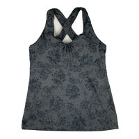 REI Womens Large Athletic Tank Top Padded Shelf Bra Criss Cross Strap Gray
