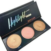 3 Colors Shimmer Eyeshadow Palette Set Kit Manizer Blush Highlighter Fit Balm