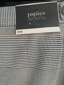 NWT RRP: £14  Papaya Women's Grey Checked Pencil Skirt Size 12UK
