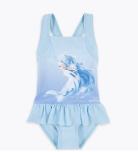 Marks And Spencer Disney Frozen Elsa Swimsuit Size 5-6yrs Pale Blue Mix