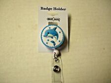 """ID Badge Holder, Dolphin Design By Smart Charms, Retractable 18"""" Reel, 1.25"""",New"""