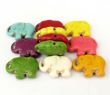 25Pcs Happy Lucky Elephant Multi-Color Howlite Turquoise Beads Finding