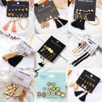 Fashion Crystal Pearl Tassel Earrings Womens Ear Stud Hook Dangle Jewelry Set