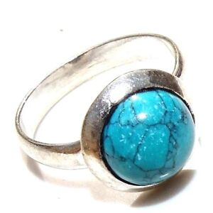 Turquoise Stone 925 Silver Plated Handmade Ring Size 7.5 US MQ21-33