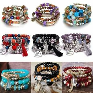 Fashion Crystal Bead Multiple Layers Charm Bracelet Bangle Women Jewelry Gift