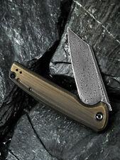 Couteau CIVIVI Knives Brigand Brass Lame Acier Damas Manche Laiton CIVC909DS2