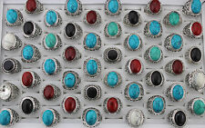 34pcs Wholesale Jewelry Fashion Mixed Style Natural Stone Party Gifts Ring AH801