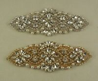 Bridal wedding silver or gold rhinestones applique Sew on jewellery beaded motif