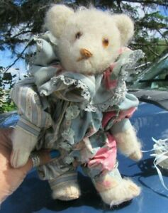 "VINTAGE WHITE WOOL MOHAIR TEDDY BEAR JESTER BLUE CLOWN COSTUME ARTIST DOLL 10"""