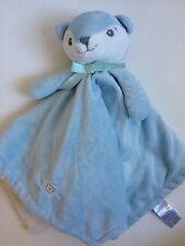 Piccolo Bambino Blue White Fox Bear Baby Security Blanket Lovey Plush Baby