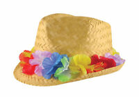 Adults Gangster Straw Hat With Flower Band Unisex Hawaiian Hula Beach Party Hat