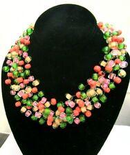 Vintage Unsigned Mid-Century Langani Designer Glass Bead Bib Necklace Anni Lang