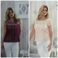 CROCHET PATTERN Ladies Sleeveless & Short Sleeve Tops Cotton 4ply King Cole 5144