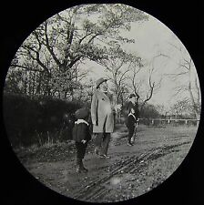 Glass Magic Lantern Slide VICTORIAN MEN WITH CHILDREN OUT FOR A WALK C1890 PHOTO