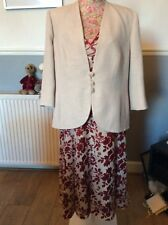 Jacques Vert Poppy Oatmeal Knee  Dress 20 jacket 22 Ec