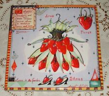 "WENDY COSTA STRAWBERRY CERAMIC TILE TRIVET DANCE IN GARDEN DRESS 6"" X 6"" SIGNED"