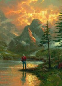 """Kinkade """"ALMOST HEAVEN"""" Fishing Lake 300 Pieces BOXLESS Jigsaw Puzzle *NEW*"""