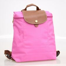 Longchamp Womens Le Pliage Nylon Lid Backpack Bag Leather Trim Packable Pink NWT