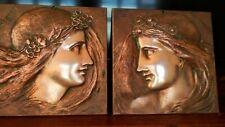 Marguerite & Mignon Aesthetic Pre Raphaelite Copper Brass 19th Century Plaques