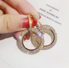 Fashion Hoop Earrings for Women Large Circle Rhinestone Dangle Earrings Jewelry