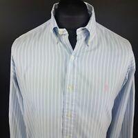 Ralph Lauren Mens Vintage Shirt 16 34/35 (2XL) Long Sleeve Blue Classic Striped