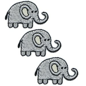 """Mini Elephant Applique Patch - Zookeeper, Animal Badge 1-1/8"""" (3-Pack, Iron on)"""
