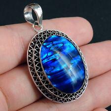 Beautiful BLUE PAUA ABALONE SHELL & 925 Sterling Silver Pendant Jewellery, OVAL