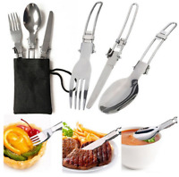 Outdoor Camping Tableware set Stainless Steel Folding Fork Spoon Cxz