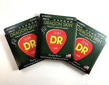 DR Guitar Strings Acoustic Dragon Skin 3-Pack 12-54 Light