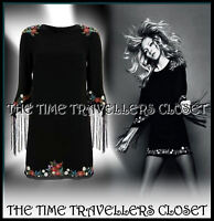 KATE MOSS TOPSHOP BLACK EMBROIDERED FLORAL DRESS FRINGED TASSEL SLEEVES 8 10 12
