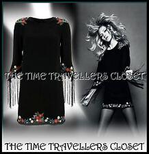 KATE MOSS TOPSHOP BLACK EMBROIDERED FLORAL DRESS FRINGED TASSLE SLEEVES 8 10 12