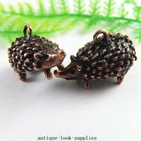 10pcs Antique Copper Red Alloy Hedgehog Charms Pendants Jewellery Findings 51230