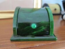 Vintage Bakelite Green Ring Box - Marbleized Green
