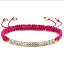 NWT $32 JUICY COUTURE GOLD PAVE BAR PINK CORD FRIENDSHIP BRACELET