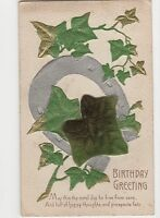 Birthday Greeting, Applied Satin Ivy Postcard, A766